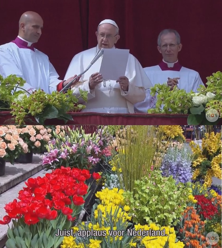 The Pope deviated from his pre-published speech to thank extra for the flowers from the Netherlands :-)